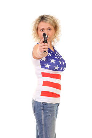 image of blonde woman wearing American Flag t-shirt photo