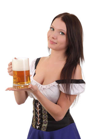 Beautiful young smiling woman giving beer 스톡 콘텐츠
