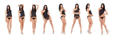collage Beautiful babe with sexy booty in a black bikini