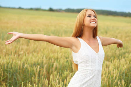 Enjoyment. free happy woman