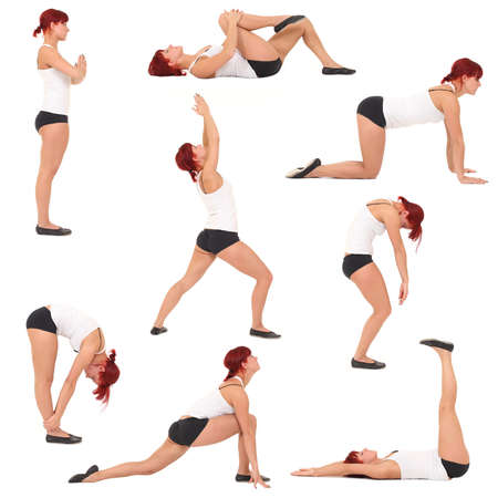 Collection of woman in yoga on white background