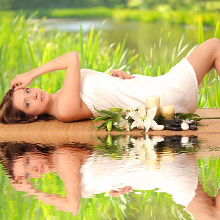 beautiful spa woman lying Stock Photo - 27942806