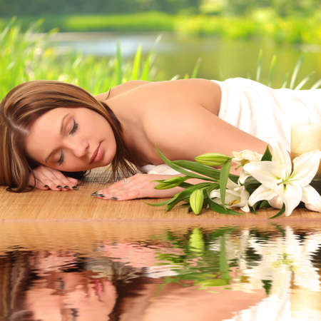 beautiful spa woman lying  Stock Photo - 27942807