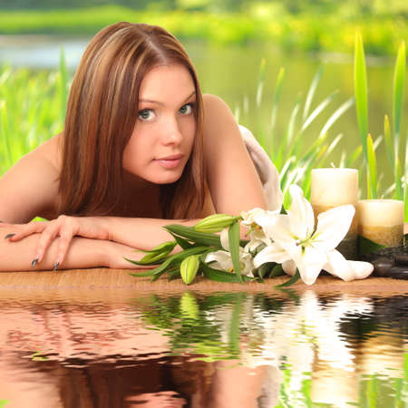 beautiful spa woman lying Stock Photo - 27942810