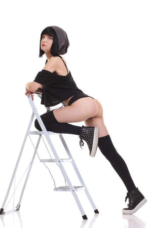 sexy girl in a stepladder photo