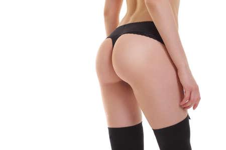 niña desnuda: Hermoso culo femenino atlético en ropa interior Foto de archivo