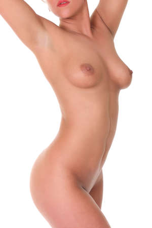 topless: Belle femme isolée sur fond blanc