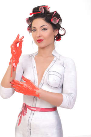 portrait of a girl with bodypainting style PinUp