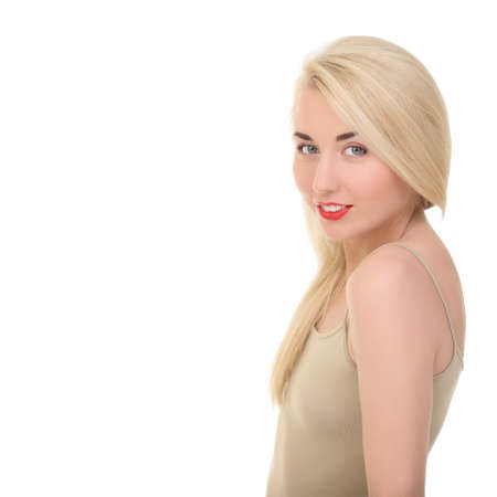 Portrait of a beautiful woman on a white background photo