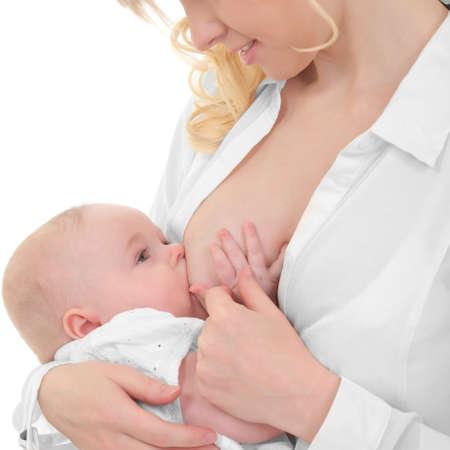 lactancia materna: madre amamantando a su hijo Foto de archivo