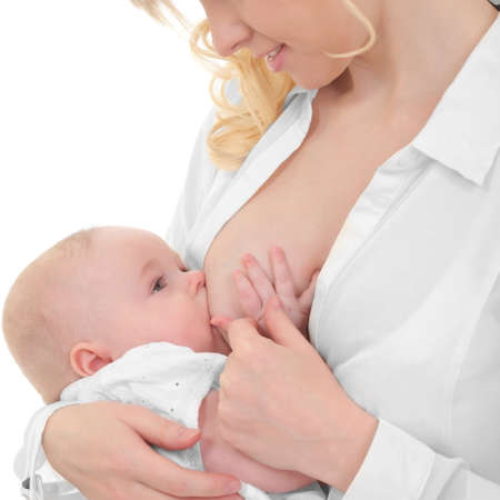 breasts girl: mother breast feeding her child