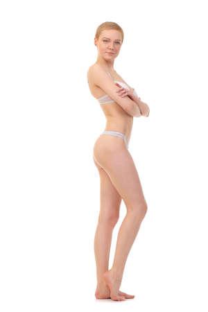 wit ondergoed: mooie vrouw in wit ondergoed
