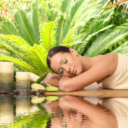woman relaxing in a spa Stock Photo - 29877393