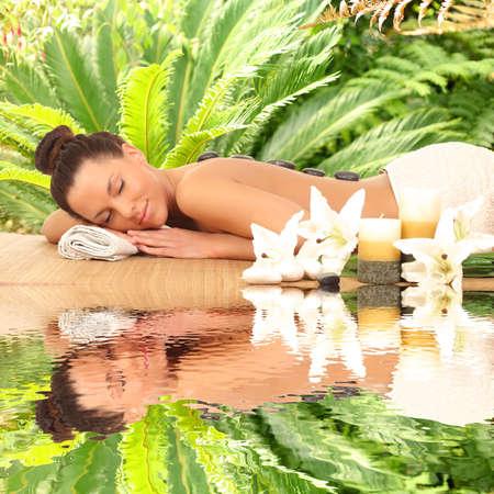 Spa. Stone Massage. Day Spa. 스톡 콘텐츠