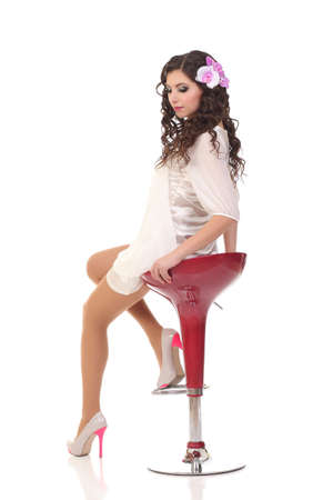 Glamour girl in dress on white Stock Photo