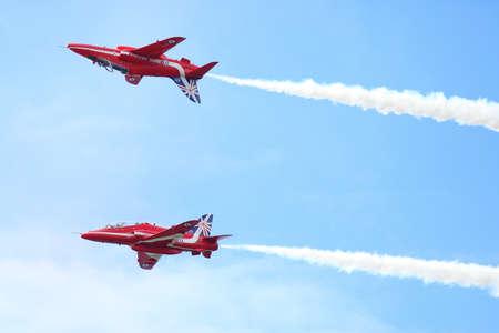 RAF air show in Tallinn, Estonia - JULY 23. Royal Air Force Red Arrows RAF Air show TALLIN  event, July 23, 2013