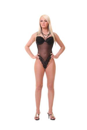 porn: фото сексуальная блондинка в черном белье
