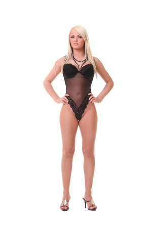 prostitution: photo sexy blonde in black lingerie