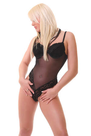 photo sexy blonde in black lingerie photo