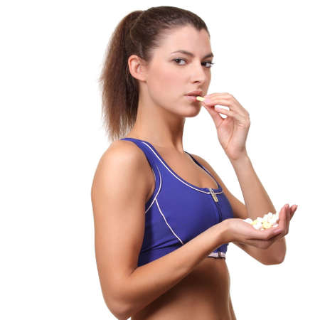 aerobic treatment: woman with pills in hand