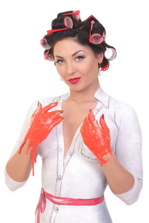 portrait of a girl with a body painting in the style of pin up