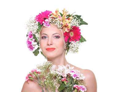 flowered: Portrait of beauty with a flowered head