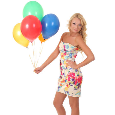 Woman holding balloons photo