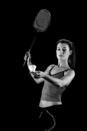 badminton racket: woman with badminton racket