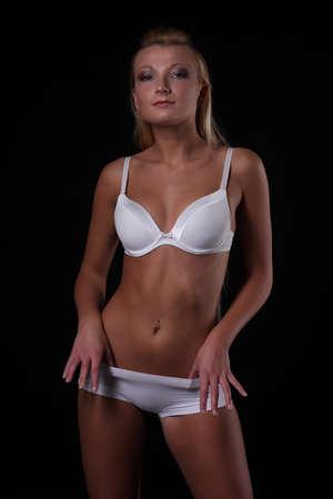 busty bra: woman with a sexy body in white underwear
