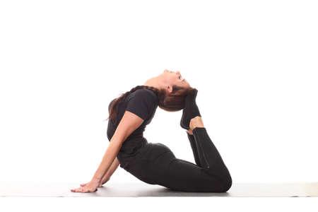 young flexible girl doing yoga
