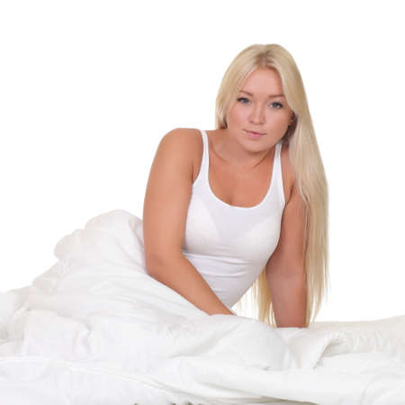 counterpane: Young woman in bed