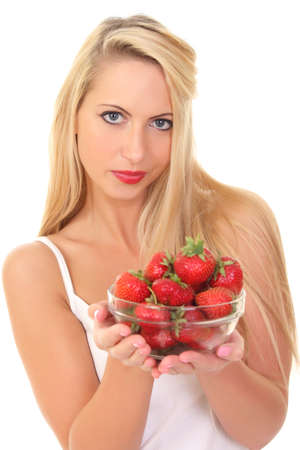 sexy beautiful young blond woman with strawberry photo