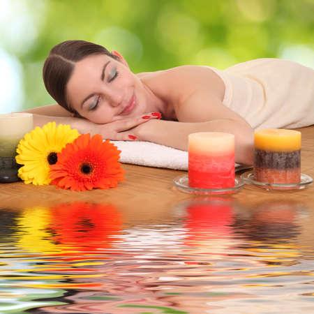 getting: Beautiful woman getting spa , spa salon Stock Photo