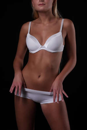 sexy body: woman with a sexy body in white underwear