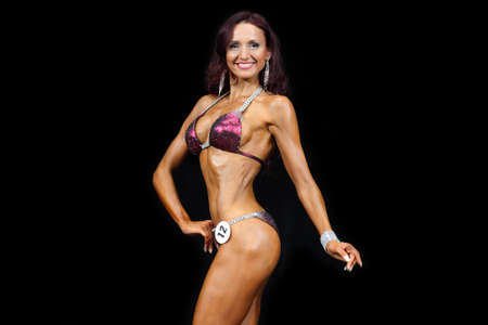 beauty contest: Slim muscled woman