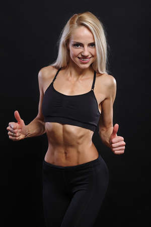 abdominal muscles: abdominal muscles young athlete, Young fitness girl