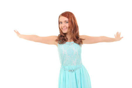 enjoying life: Portrait of happy young girl with stretched arms enjoying life