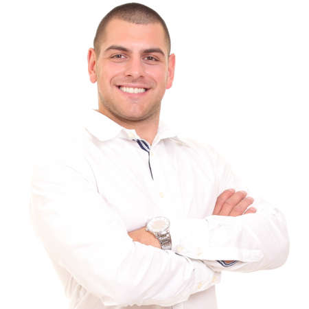 casual business man: solid portrait of a young man in a white shirt Stock Photo