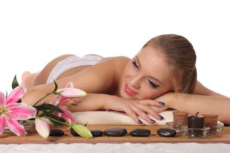 dayspa: Beautiful woman getting spa , spa salon Stock Photo