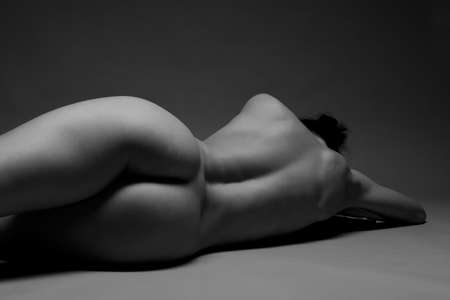 nude back: Sexy nude young woman back and butts Stock Photo