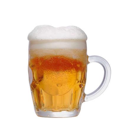 un bottled: Mug fresh beer isolated on white background
