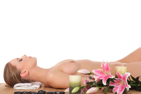 Beauty. Girl in the spa salon on a white background
