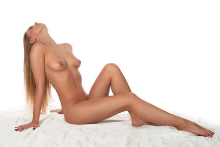 bare breast: naked woman isolated on a white background