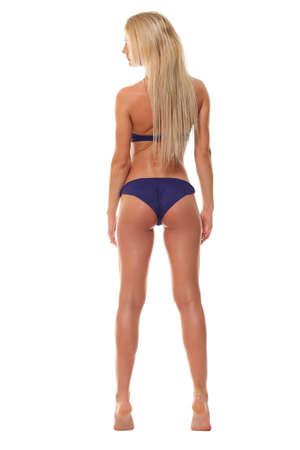 backview: Backview of female wearing bikini, isolated on white Stock Photo