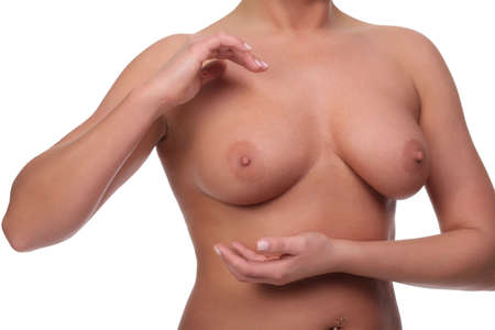 Body of a girl with beautiful naked breasts