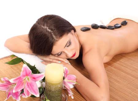 Belle femme dans une thérapie de pierre Banque d'images