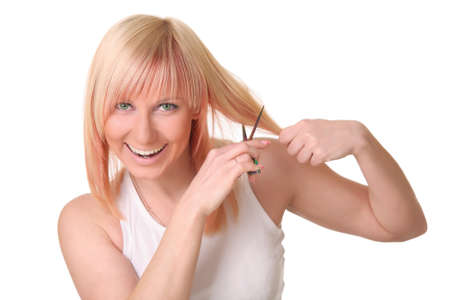 Woman with hair scissors