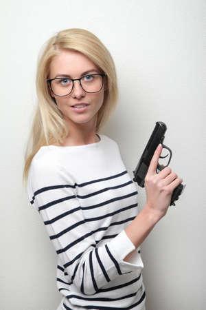 weaponry: beautiful sexy girl holding gun