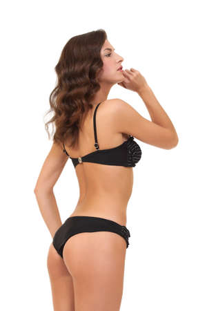 sexy fashion model in a black swimsuit photo