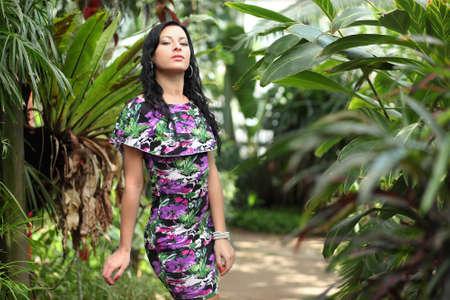 Portrait of beautiful woman in the garden